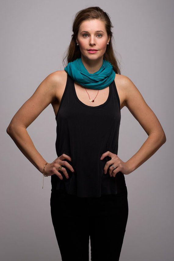 Turquoise Jersey Infinity Scarf Silky Sheen by WICKandPoppy, $34.51