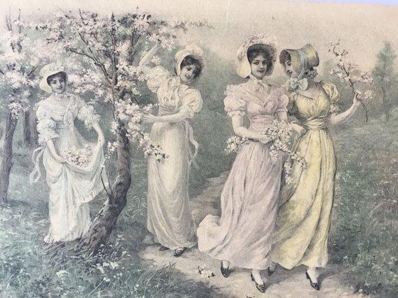 Franse mode van de jaren 1800 * vier dames verzamelen cherry bloemen in de tuin * Art print op antieke briefkaart, verzonden 1907