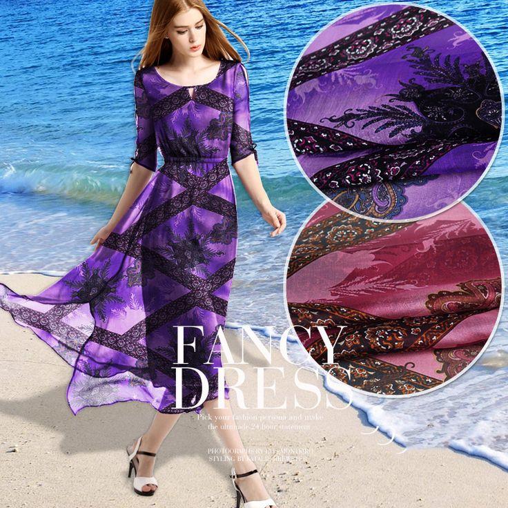 Европейский и американский вентилятор шелковые ткани шелковые шарфы шифон цветочные платья персидский ткань прозрачный