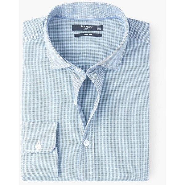 Camicia slim-fit quadri vichy - Uomo | MANGO (€30) via Polyvore