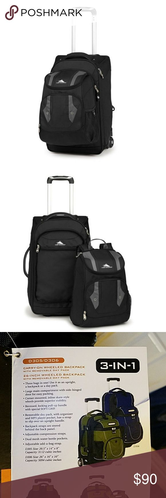 NWT High Sierra 3 in 1 Wheeled Backpack w/Day Pack This is a carry-on wheeled backpack with removable day pack. This is model D306. It can be used as an upright, a backpack or a day pack. High Sierra Bags Luggage & Travel Bags