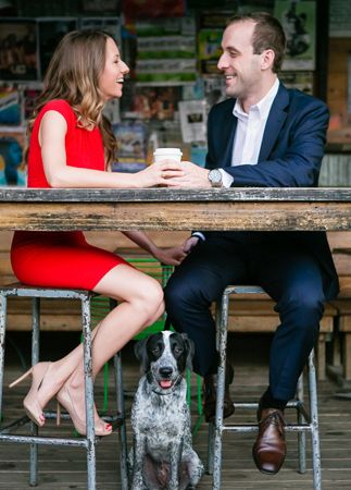 22 Engagement Photos With Dogs That Will Melt Your Heart - Love this!! Both of them holding the coffee cup and the dog under the table