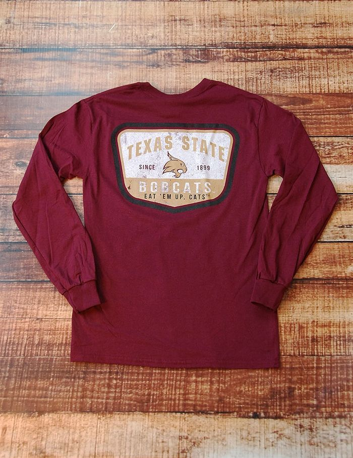 Show your school spirit on game day in this great long-sleeve Texas State Bobcats t-shirt You bleed maroon dont you Go TXST BOBCATS