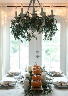 Scandinavian style fall table or Thanksgiving table place setting idea with pump…