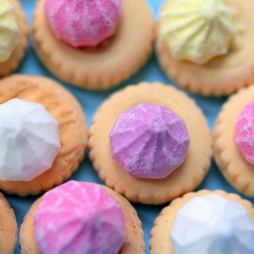 Iced Gems. Loved these when I was a kid! I used to bite off the icing & put the cookie part back in the jar. Needless to say, when my mom/grandmother took the jar out to serve to guests they were not to happy to find a jar full of un-iced cookies.