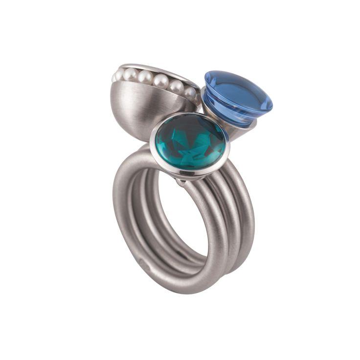 Pur Swivel - Petrol Halbschale Steel Ring Set - ORRO Contemporary Jewellery Glasgow - www.orro.co.uk