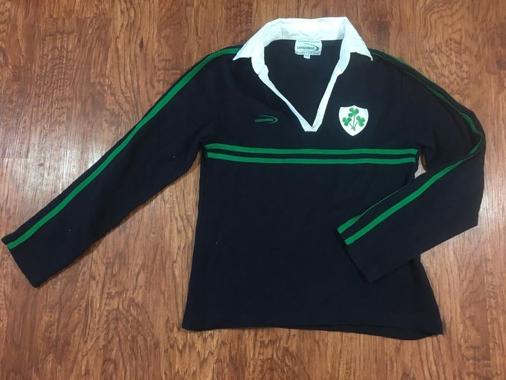 LANDSDOWNE Collection Womens RUGBY Shirt Long Sleeve Navy Blue Green Clovers #Lansdowne #PoloShirt
