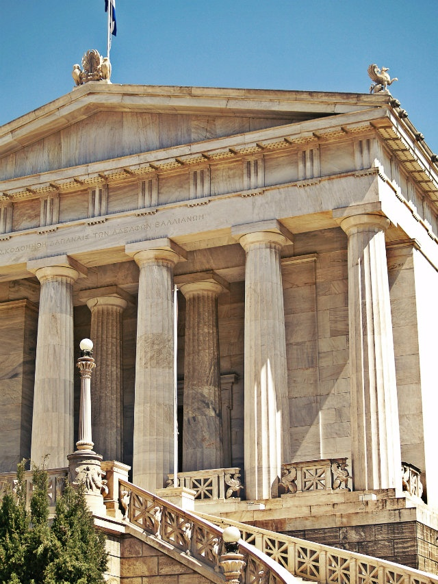 The National Library is the last building of the Trilogy of Neoclassicism to be completed in 1902. Walking Athens app, Route 01 - University Str. (Download for FREE)