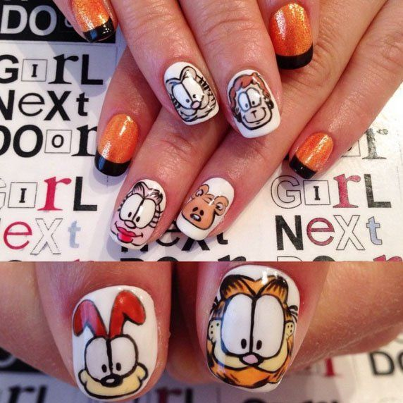 Pin for Later: 20 Cartoon-Inspired Nail Art Looks That Will Make You Feel Nostalgic Garfield Glam