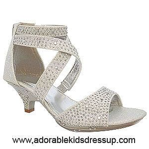 Crisscross Foot Straps Accent These Lovely Silver Sparkling Kids Pageant  High Heels. Perfect Shoes For A Pageant Or Any Dressing Up Fancy Occasion.