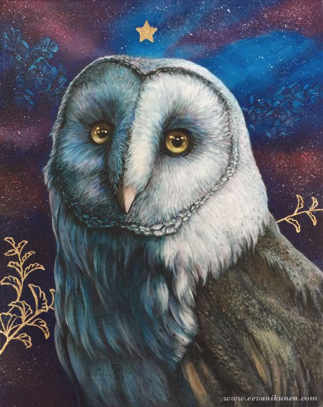 'The Observer' Owl painting by Eeva Nikunen. Oil on canvas.