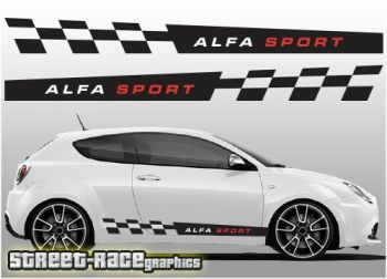 Alfa sport car racing stripes