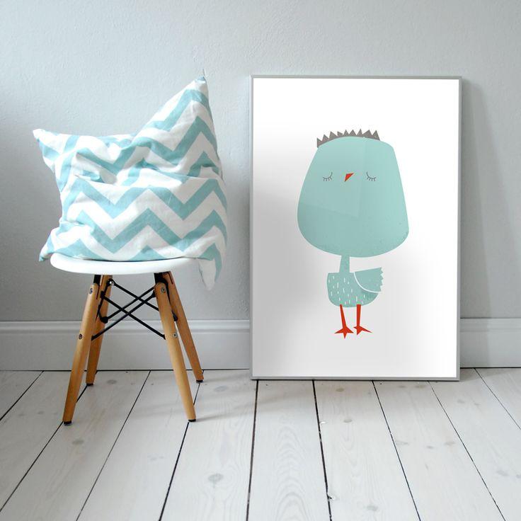 Mr Birdo. Plakat dla dzieci. pokój dziecka   ptak   ilustracja   nursery poster   scandinavian style   bird   animal   baby   illustration   baby room