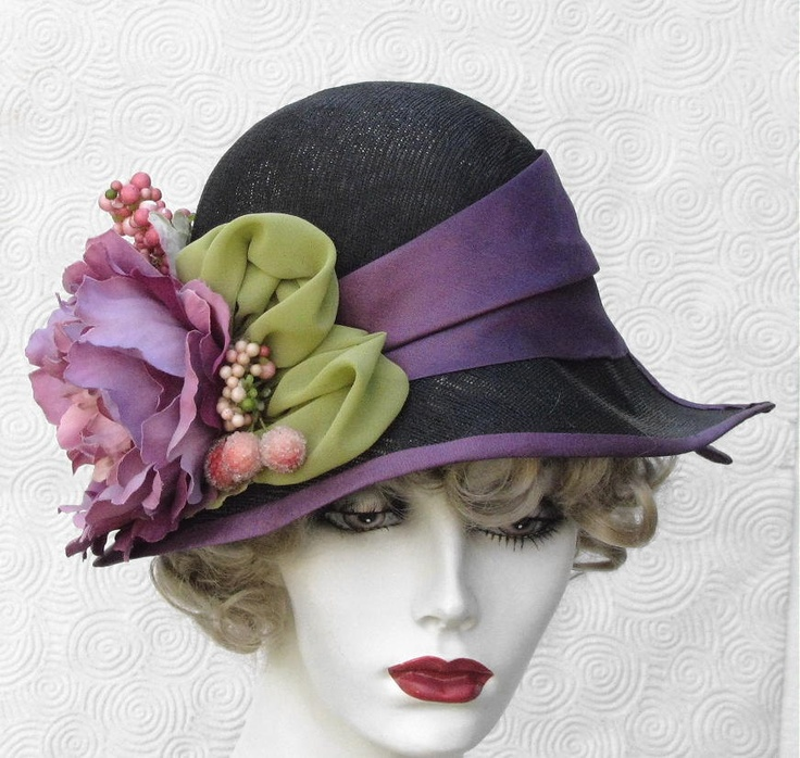 Black Flowered Summer Tea Garden Party Wide Brim Millinery Cloche Hat Purple Trim. $215.00, via Etsy.
