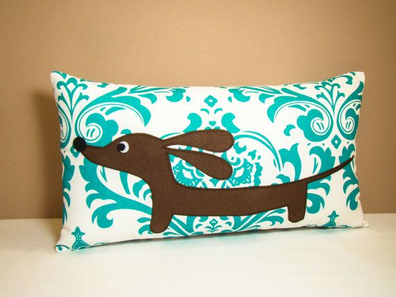 Dachshund Pillow  Doxie in the Teal Damask by persnicketypelican, $28.00