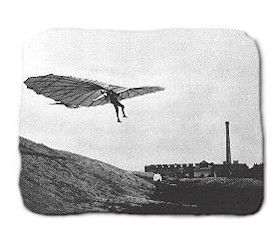 """German engineer Otto Lilienthal, """"airman's"""" philosophy was to first get up in the air, fly around with gliders, and obtain the """"feel"""" of an airplane before putting an engine on the vehicle.           Otto Lilienthal of Germany was a brilliant contributor to the conquest of the air and made nearly 2,000 successful glider flights, from 1891 to 1896, in sixteen seperate glider types.  wem"""