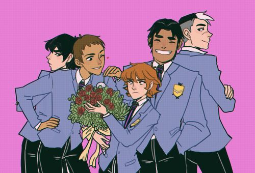 """trichosirius: """" someone tagged my other lance/pidge ouran au thing as 'kiss kiss form voltron' and i needed to make the thing (based on this ouran picture kind of) """""""