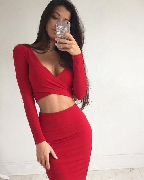 cb8148007e Red V-neck Two Piece Long Sleeve Bodycon Homecoming Dresses in 2019 ...