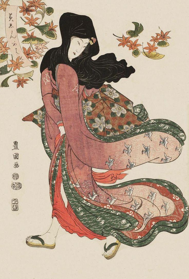 Woman Under Maple and Ginkgo Leaves. Ukiyo-e woodblock print. 1811, Japan. Artist Utagawa Toyokuni I