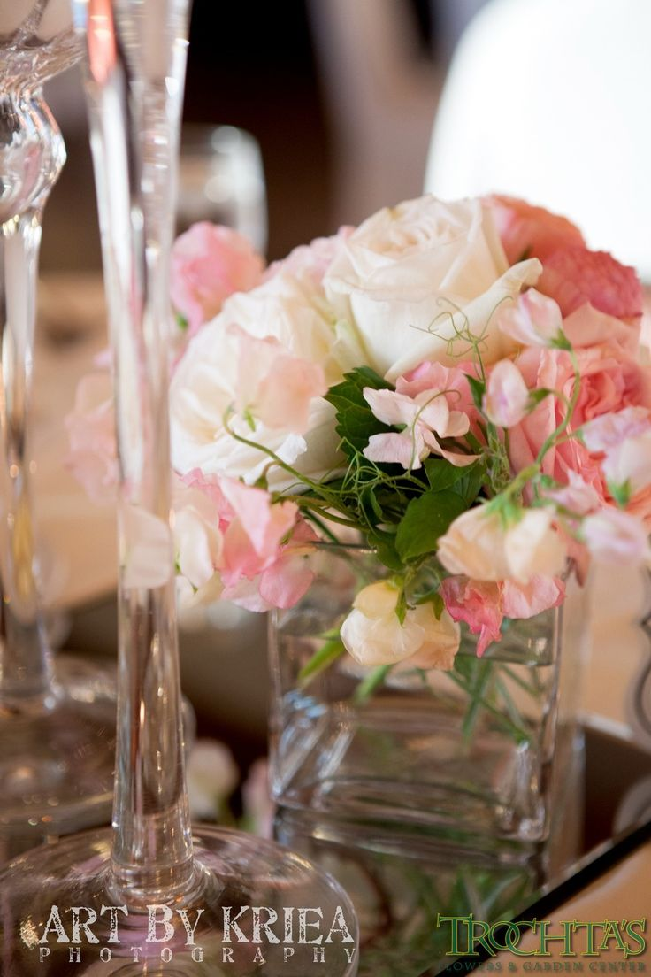 White roses and pink peony centerpiece photo by kriea