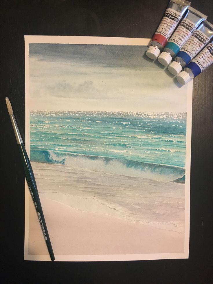 Aquarel watercolour painting of miami beach