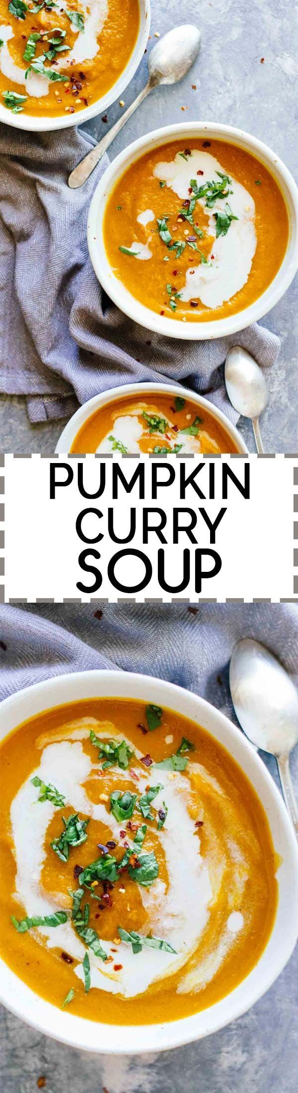 Pumpkin Curry Soup! Vegan, vegetarian, gluten-free, and under 30 minutes. Feeling all the fall feels with this delicious recipe!
