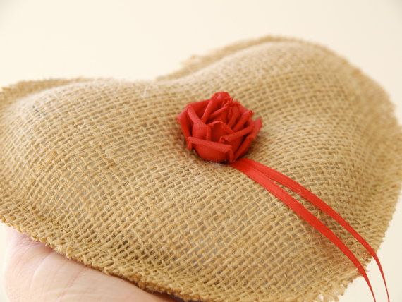 Wedding Ring Pillow Burlap Country Ring Bearer's Heart Pillow, Country Rustic  Alternative Unique Brown Tan White Red Rose