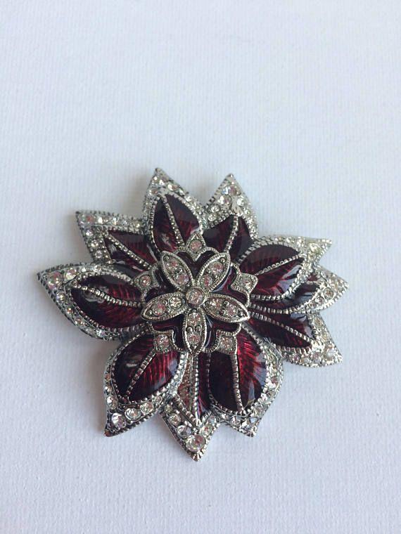 56465fb8f3a Signed Monet Rhinestone Enamel Christmas Poinsettia flower Brooch pin  costume