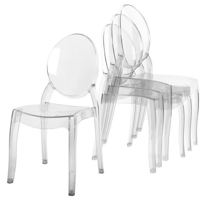 Lot De 4 Chaises Transparent En Plexi Ronda Chaise Transparente Chaise Chaise Polycarbonate