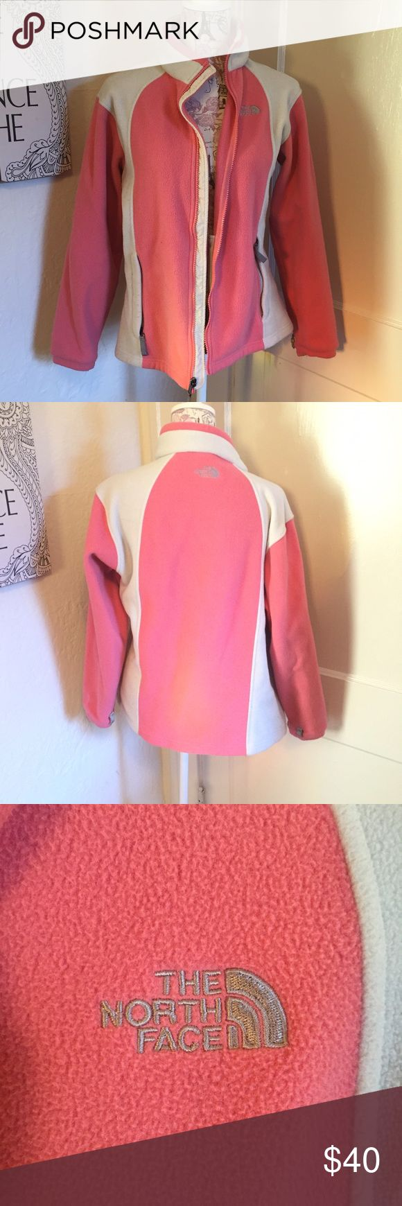 Peach and cream north face fleece jacket 🎀 Fleece 🎀 Peach and cream   🎀 Size girls xl, women by me about the equivalent of a women's small 🎀  Gently used  🎀Please ask for additional pictures, measurements, or ask questions before purchase 🎀No trades or other apps. 🎀Ships next business day, unless otherwise noted in my closet 🎀Reasonable offers accepted  🎀Five star rating 🎀Bundle for discount North Face Jackets & Coats