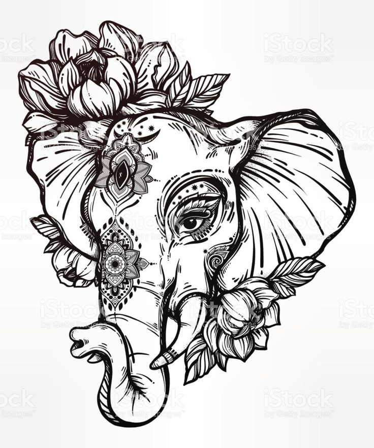 art elephant with frida flowers | Decorative elephant with tribal ornament, flowers. royalty-free stock ...