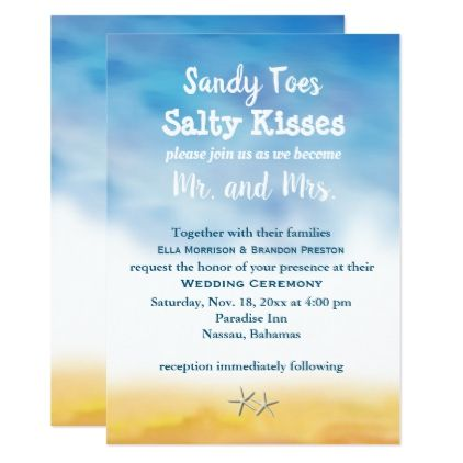 Watercolor Sandy Toes Wedding Invite - sky & sand - watercolor gifts style unique ideas diy