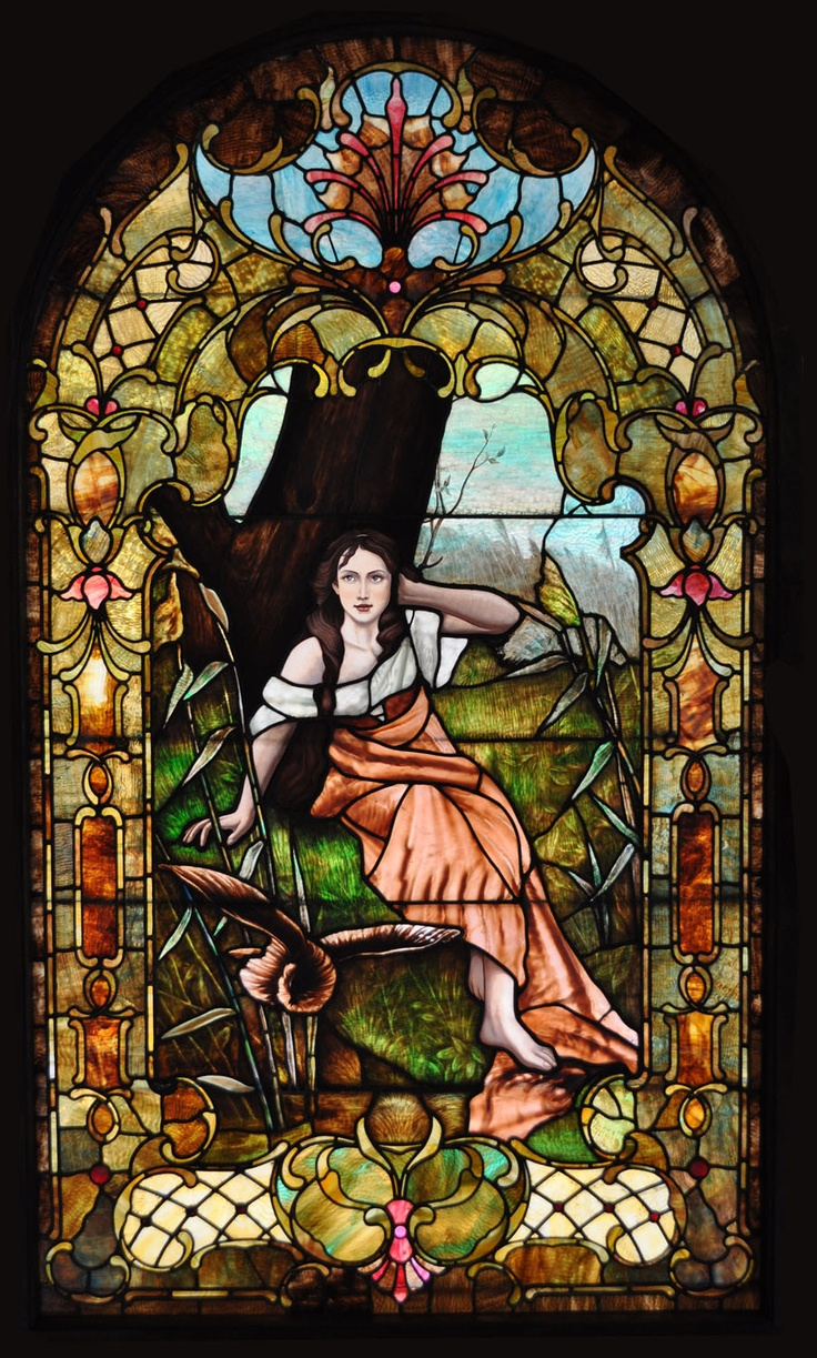 9' Victorian leaded, painted, plated, stained glass window conservation