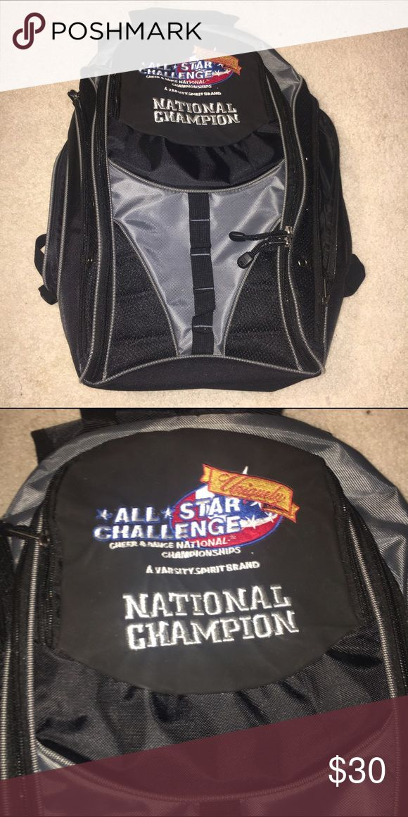 National Champion Cheer Backpack Never used but won at All Star Challenge. Has large pockets and features a laptop holder on the inside. Trades and offers welcome. NFINITY FOR EXPOSURE Nfinity Bags Backpacks