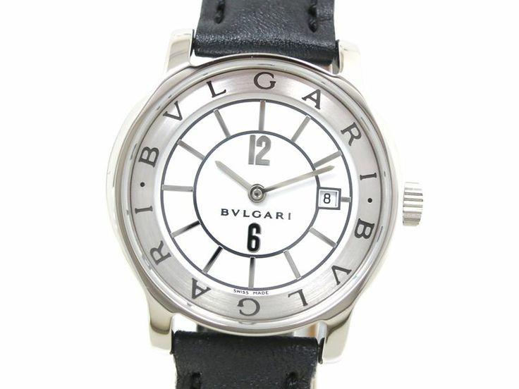 Bvlgari Solotempo Wristwatch SS/Leather White/Black Ladies ST29S(BF050755)