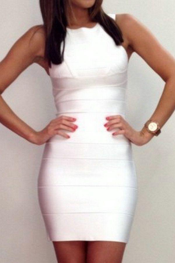 Style NO H094 White Sleeveless Evening Dress Party Prom Bandage Dress US $45.00