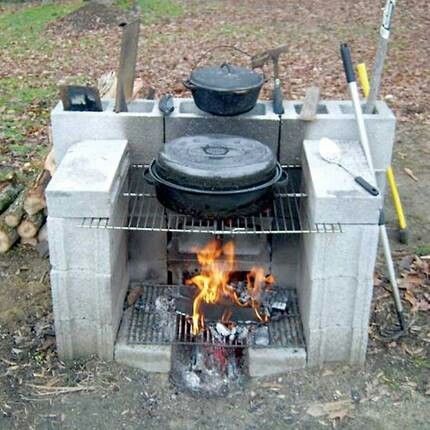 Build a outdoor fireplace/cook stove