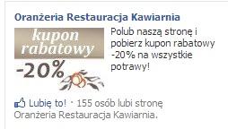 Reklama kuponów rabatowych restauracji.
