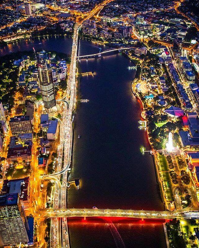 An aerial of Brisbane at night, looking down the river captured by @gregsullavan via IG #brisbaneanyday