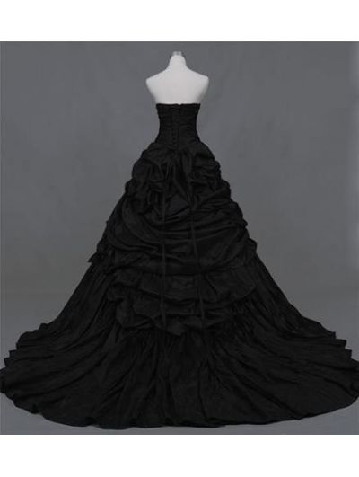 Black Ball Gown Gothic Wedding Dress