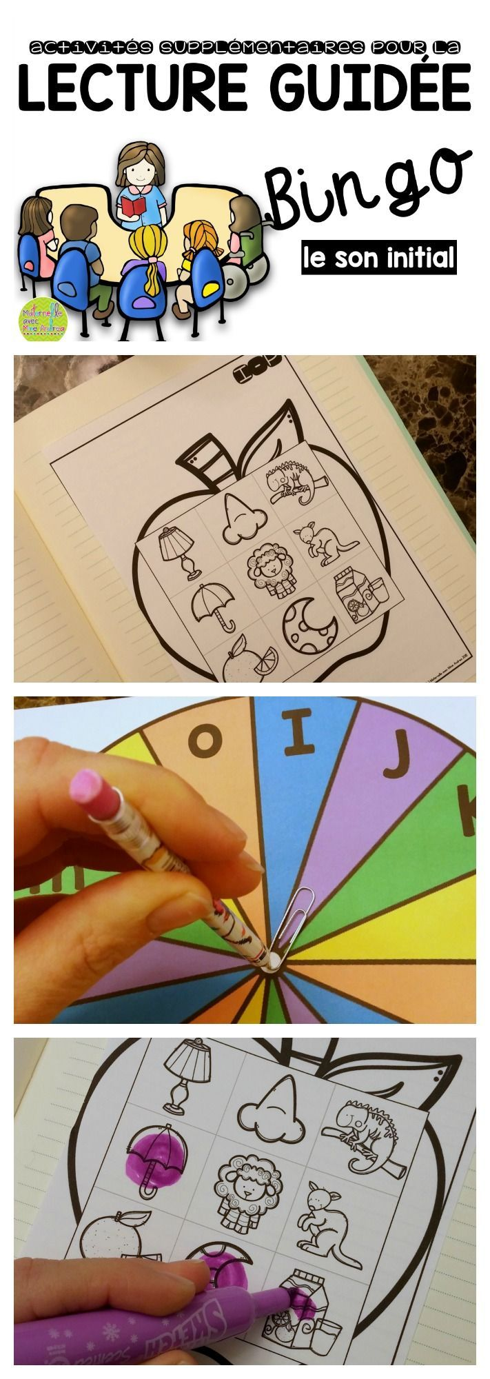 Bingo - Le son initial. Ce jeu de Bingo est très simple et amusant. Il y a assez de planches pour jouer avec jusqu'à 6 élèves (une activité idéale pour la lecture guidée). Les planches de jeu sont en couleur et en noir et blanc. Moi, j'imprime les planches en noir et blanc et les roulettes en couleur. Mes élèves collent les planches de jeu dans leurs cahiers de lecture guidée et utilisent les tampons pour recouvrir leurs images. Facile à préparer, mais très pratique!