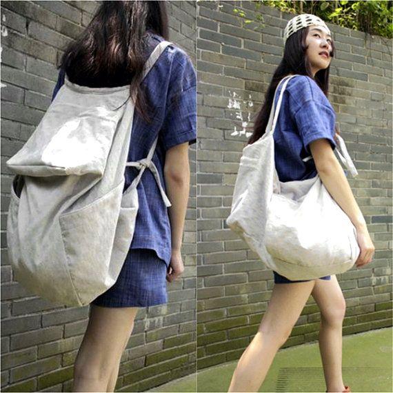 Handmade Natural Linen 2 ways Backpack & Crossbody by unidostore
