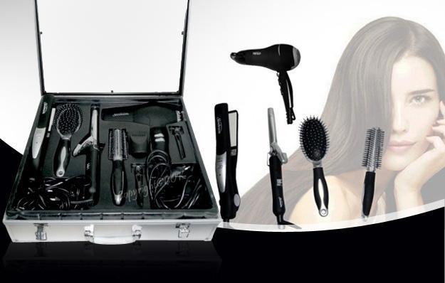 National - Cheveux raides, ondulés, bouclés, coiffez-vous à l'infini ! Sèche-cheveux professionnel, lisseur, fer à friser... Profitez d'un set de coiffure Pro 8 en 1 avec mallette, pour 39,90€ au lieu de 99,80€, soit 60% de remise !