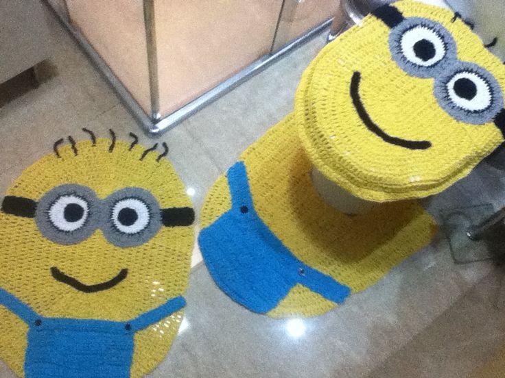 Tapete Minions De Croche : Minions Jogo para banheiro com 03 pe?as, diversos modelo, veja mais