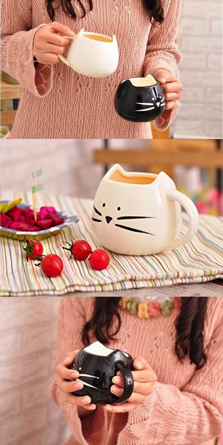 "miss-mandy-m: ""Cute Kitty Mugs in Black & White """