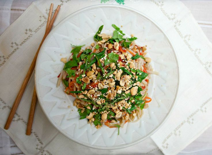 Veggie Thai Noodle Salad - brimming with crunchy veggies, fresh herbs, and soft rice noodles that are laden with a Thai dressing.