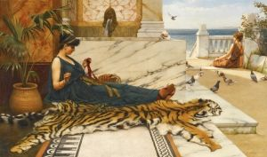 """Sewing Girl on a Tiger Skin""  by  John William Godward.  Dates: 1889  Artist age: Approximately 28 years old.  Dimensions: 17.99"" x 30"".  Medium:	Painting - oil on canvas."