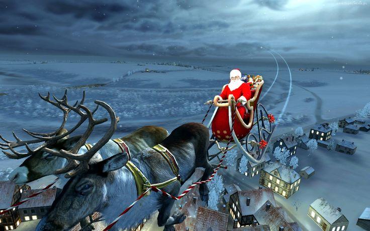 Mikołaj, Sanie, Renifery, Boże, Narodzenie, Obraz