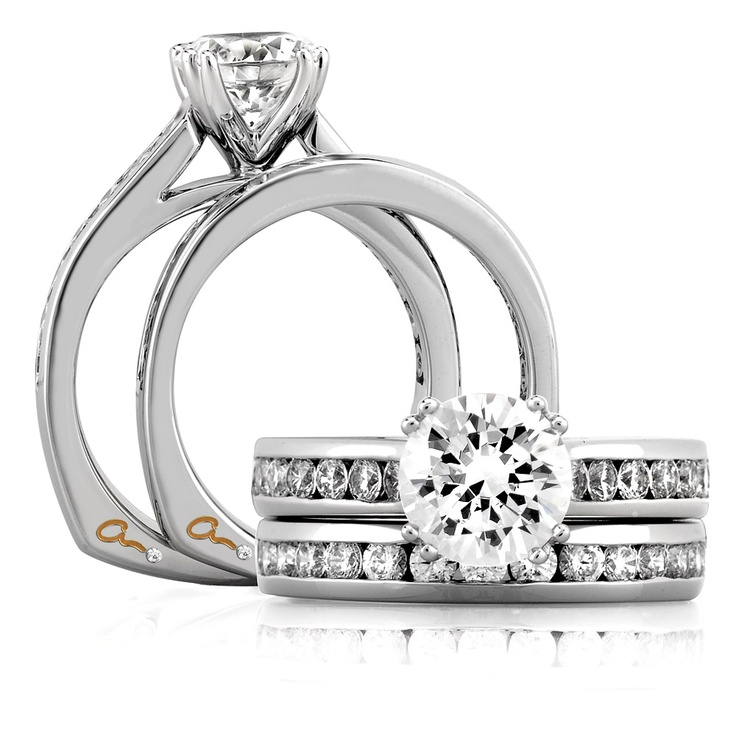 A. Jaffe Engagement Ring and Band  Style Number MES174  available at Bremer Jewelry in Peoria and Bloomington (Illinois, USA)