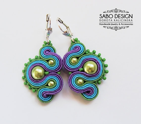 Multicolor soutache earrings handmade embroidery by SaboDesign.
